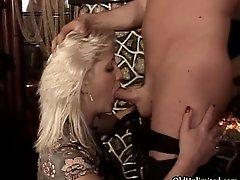 Nasty blonde maturer whore goes crazy having oral sex a