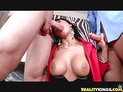 Alison Star gets double teamed by two formidable cocks