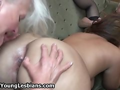 Lesbian Teen Girl Licking The Pussy Of This Horny Grand