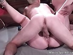 Dirty brunette milf with big tits getting pussy and but