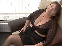 Big tits hairy mature in stockings and see through panties striptease