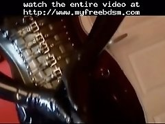Lesbian sex machine with cock bdsm bondage slave femdom