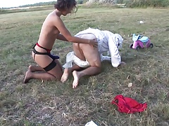 Man Likes Playing In The Grass With Adult Toys And Brunette