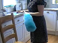 Amateur British MILF Housewife In Retro Lingerie And Blue Silk Stockings