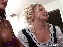 Hot horny milfs from milfnextdoor go crazy rubbing and