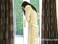 Shoveling Snow Gets Hairy Woman Sadie Matthews Hot