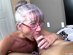 Mature With Tiny Tits Receives Facial