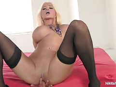 Russian MILF Nikita von James fingers her wet pussy