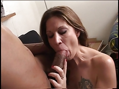 Horny Girl Gives Guys Thick Massive Cock A Blowjob