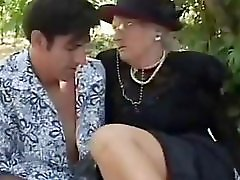 Picnic with British granny and young guy
