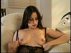 Sexy babe rubs her nice tits and fingers her pussy then titty fucks long cock