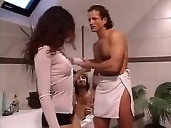 Papa Kinky Brunette Has Plans For Two Guys In A Bathroom