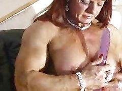 Muscle Goddess Maryse Manios plays with a dildo Pt 2