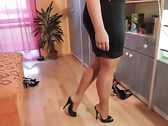 Amateur In Nylon Stockings And High Heel Shoes