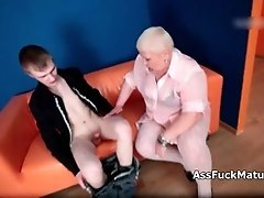 Dirty Old Slut With Blonde Hair Sucking On Young Cock B