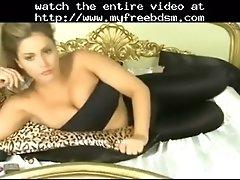 Brunette in her shiny leggings bdsm bondage slave femdo