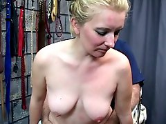 Blonde woman gets her pussy smeared with and fucks doggy