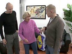 Oma Rita Fucks Two Guys