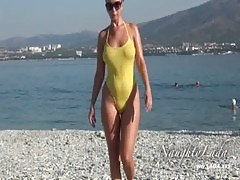 Sheer when wet swimwear and flashing