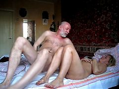 Two sexy kinky matures have fun with cock